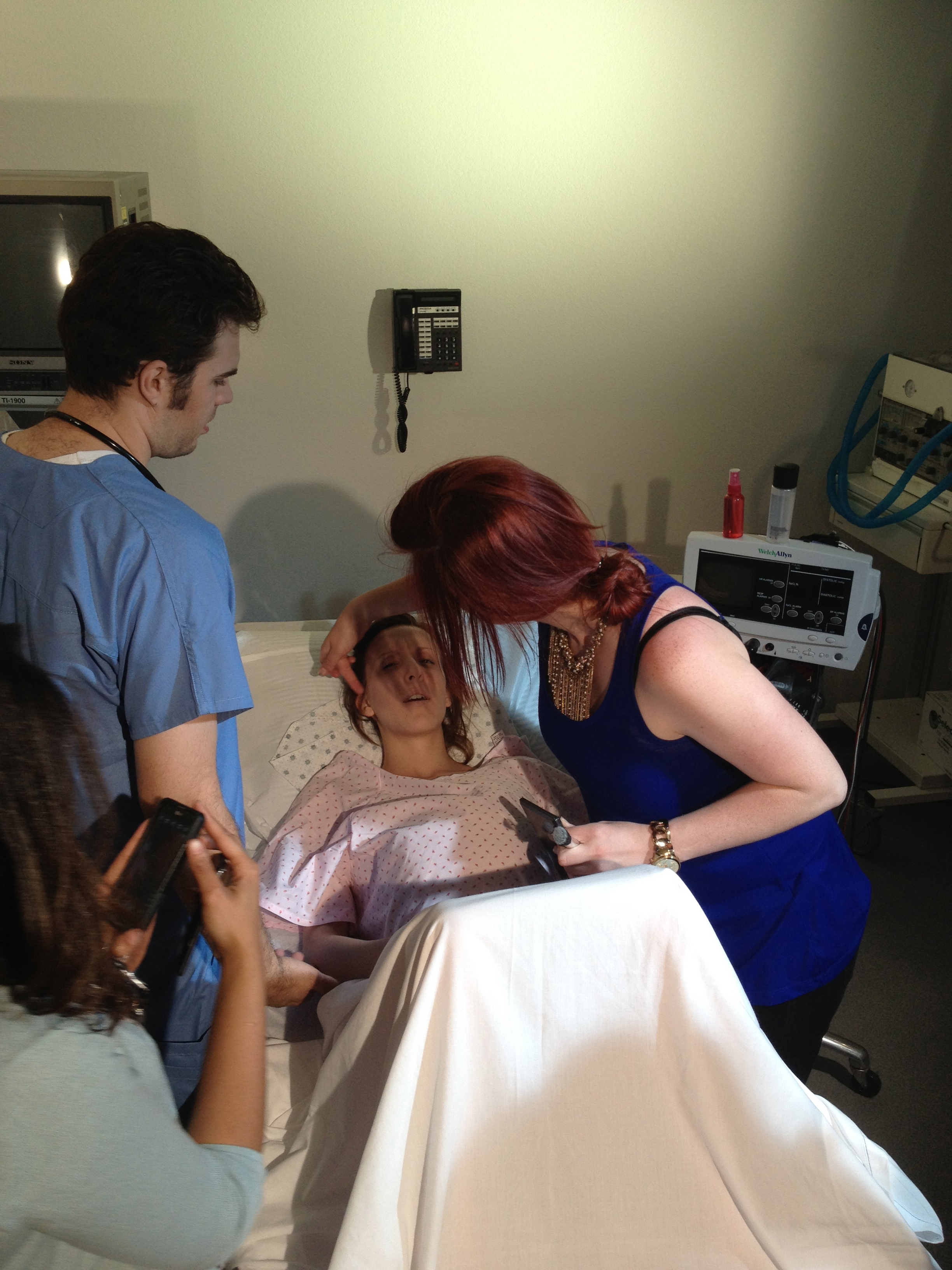 Makeup Artist Amber Morgan gets the multi-talented director ready for an intense delivery scene.