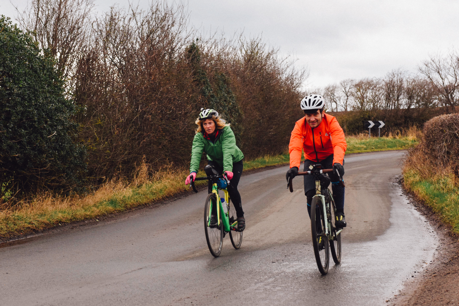Lindsey and Markus Stitz cycling into Edinburgh from the Scottish Borders… Lindsey had cycled the length of the UK, linking up with wild swimming groups