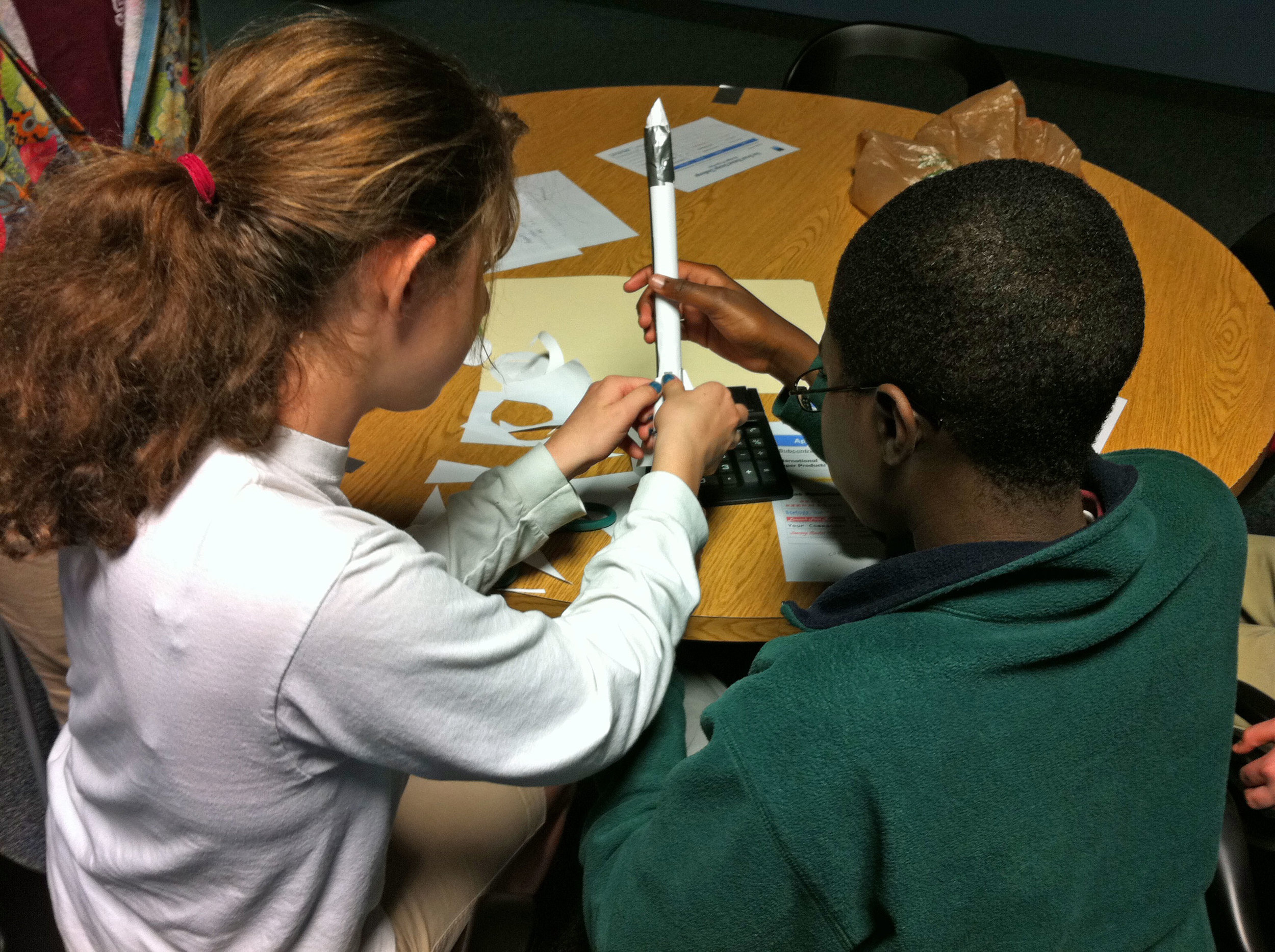 In our Great Rocket Design Challenge, teams build then launch an air-powered rocket.