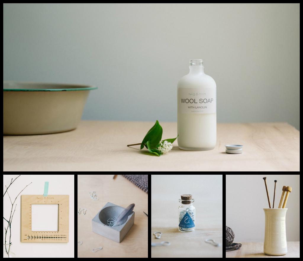 1/ Wool Soap 2/ Gauge Ruler 3/ Notions Dish 4/ Stitch Markers 5/ Needle Vase