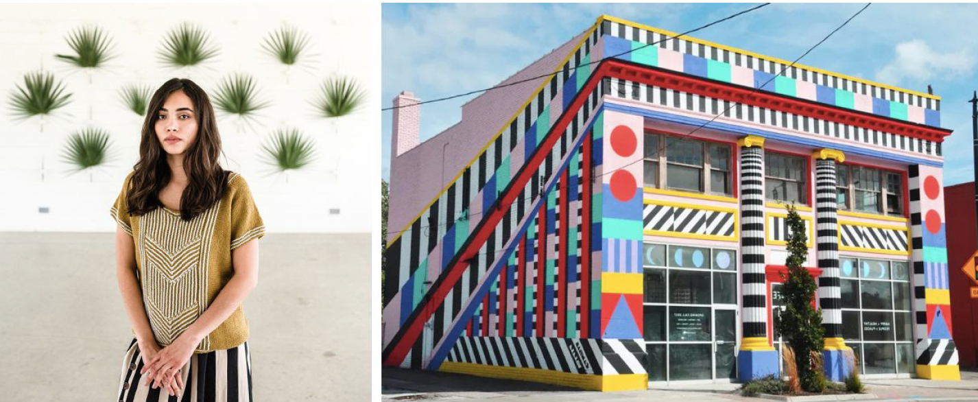 LEFT:  Leiden by Natalie Selles  / RIGHT:  Camille Walala, Pop Life Building (2017)