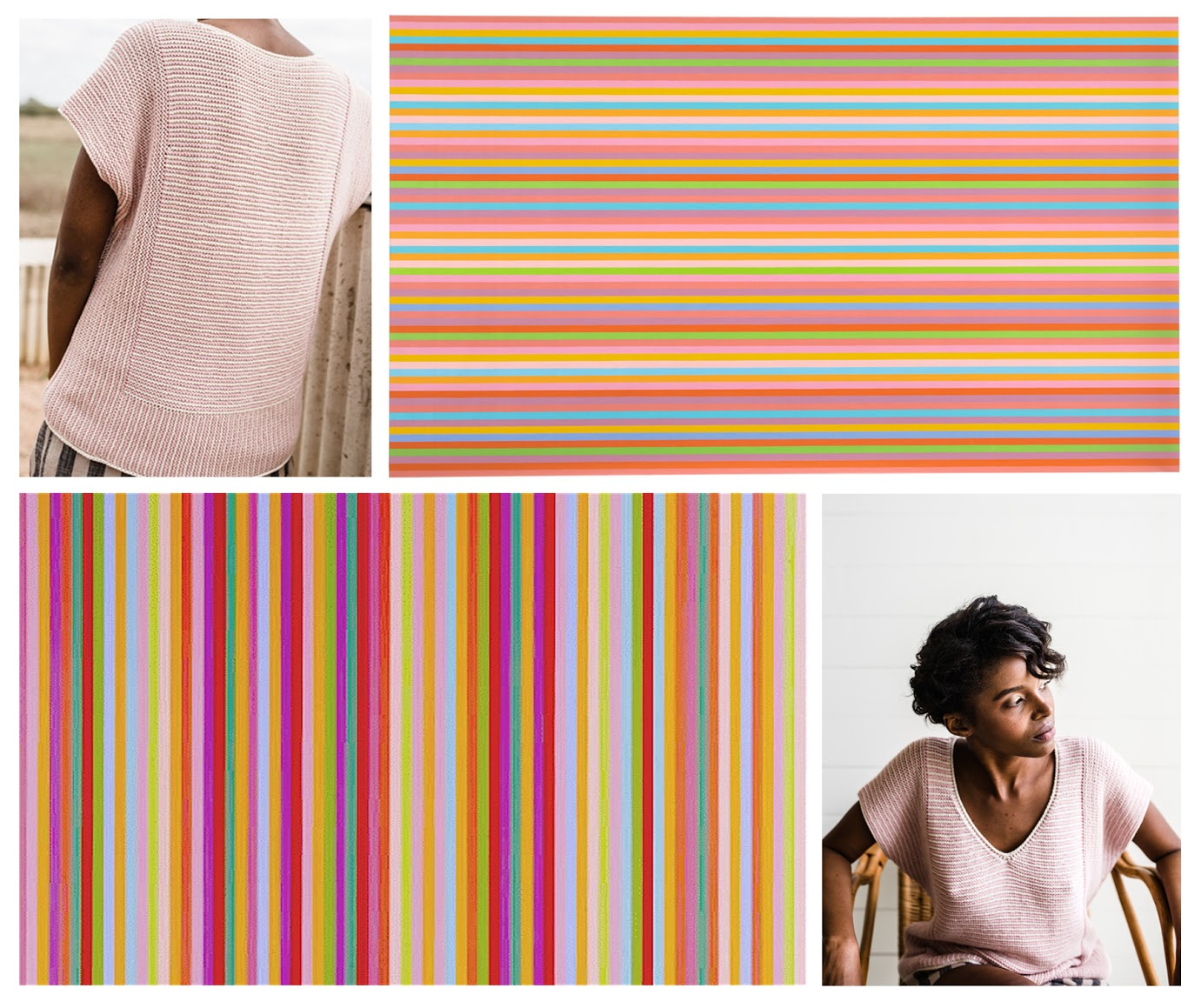 Top left and bottom right:  Riley tee by Amy Christoffers  / Top right:  / Bottom left:  Bridget Riley, Sarabande (1985)