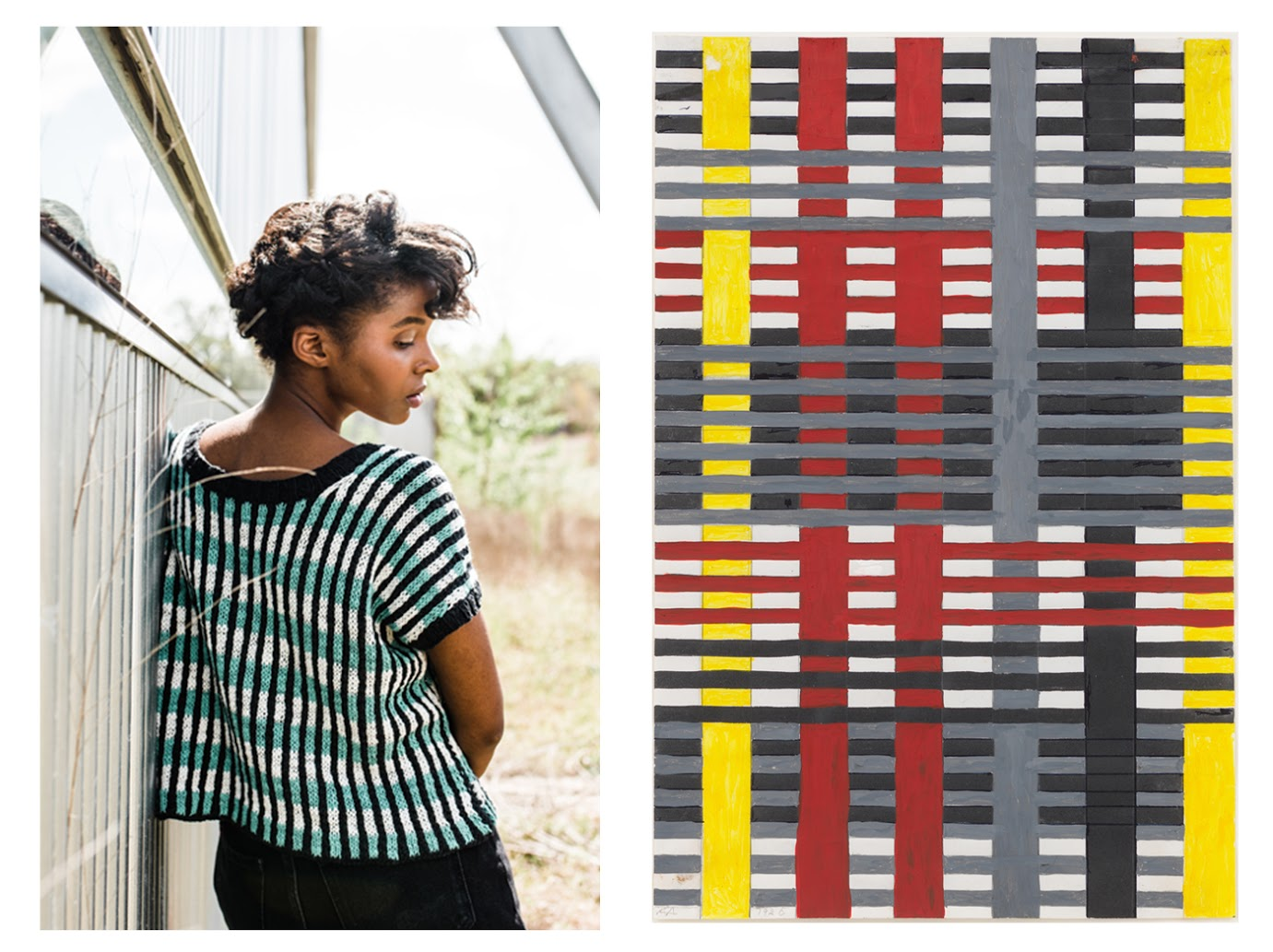 TOP IMAGE LEFT:  Anni Albers, Untitled Wall Hanging (1926)   / RIGHT:  Anni by Gina Röckenwagner