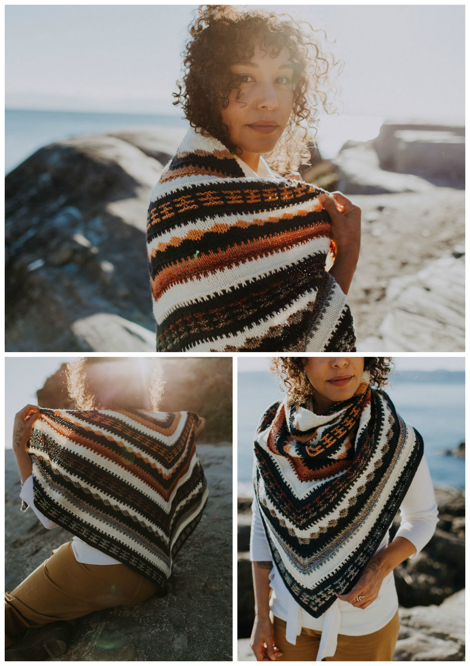 Curly haired woman wearing multi coloured mosaic knit triangular shawl on boulder in front of ocean in various poses.