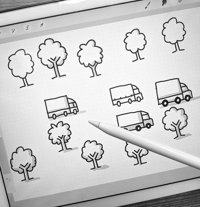 Sketching elements of a diagram on the iPad