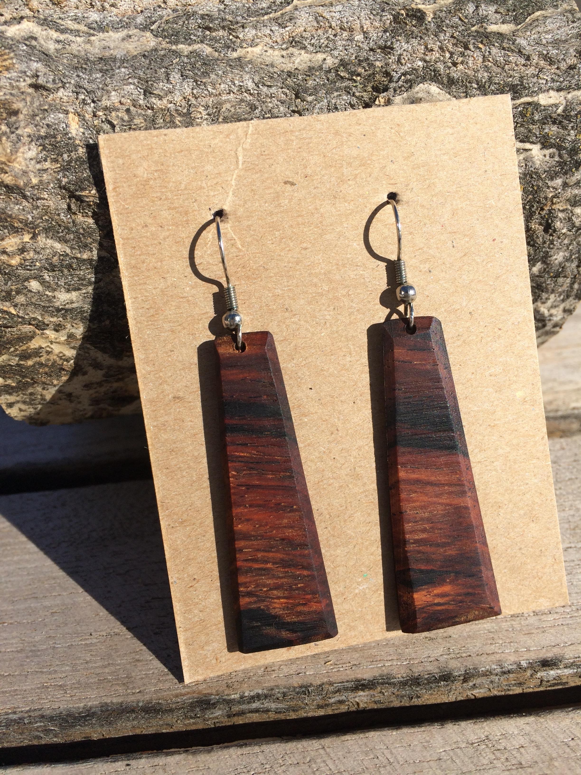 Cocobolo Wood Long Earrings