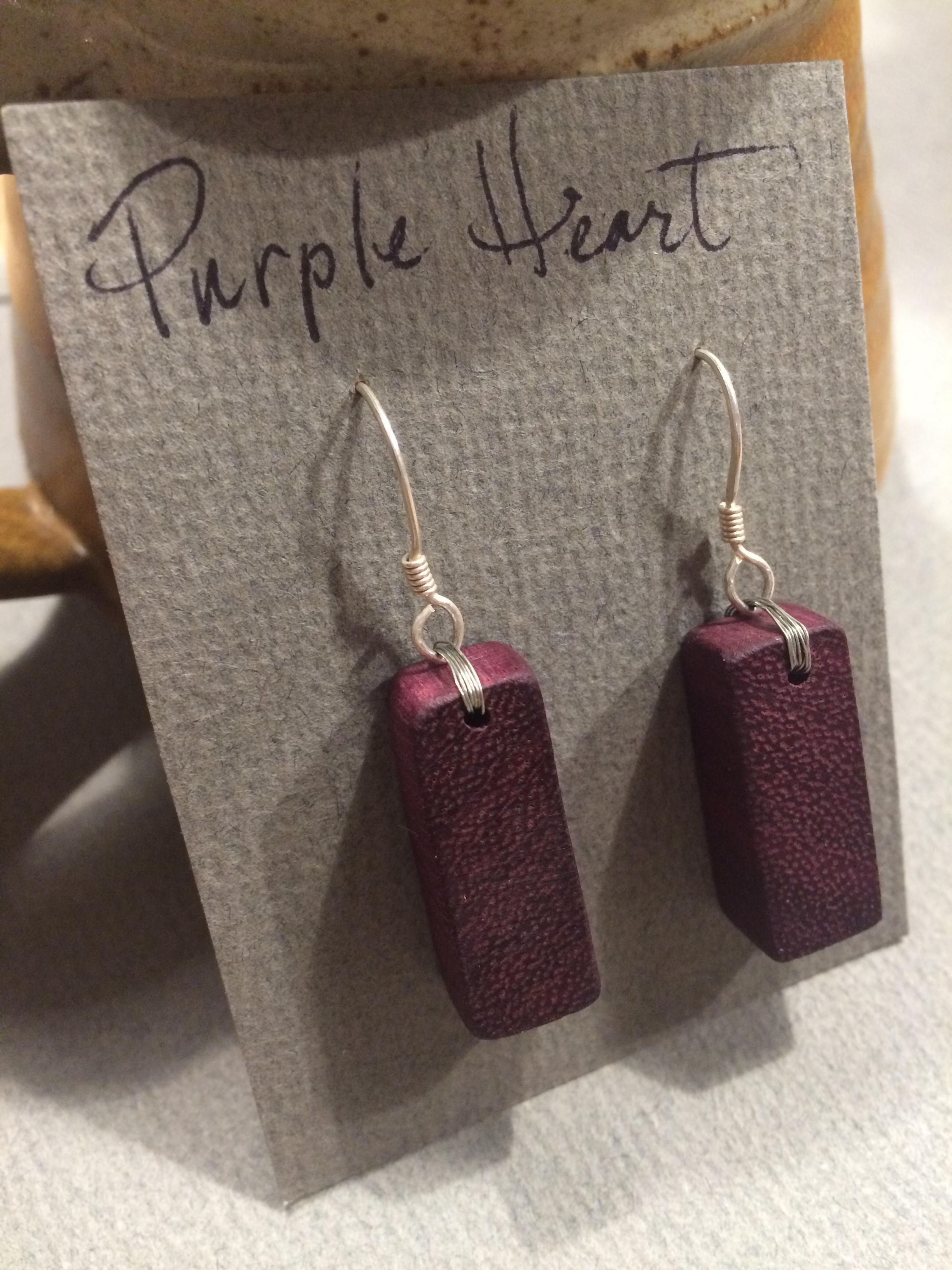 Purple Heart Wood Block Earrings