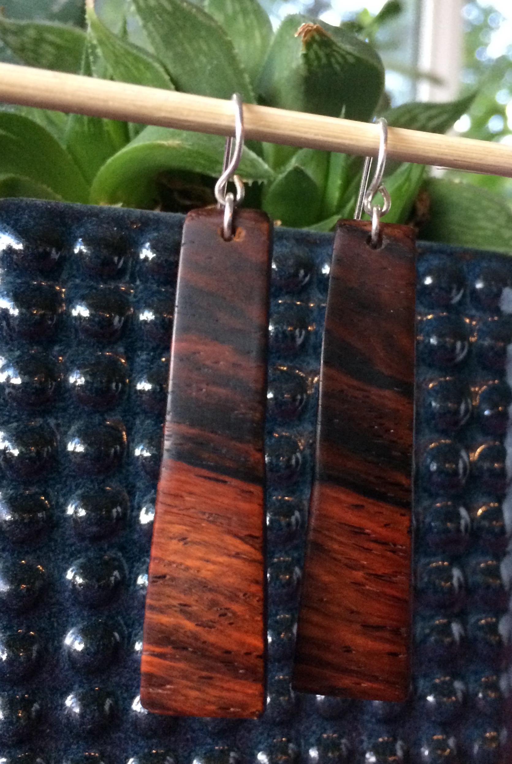 Cocobolo Wood Desert Sunrise Earrings