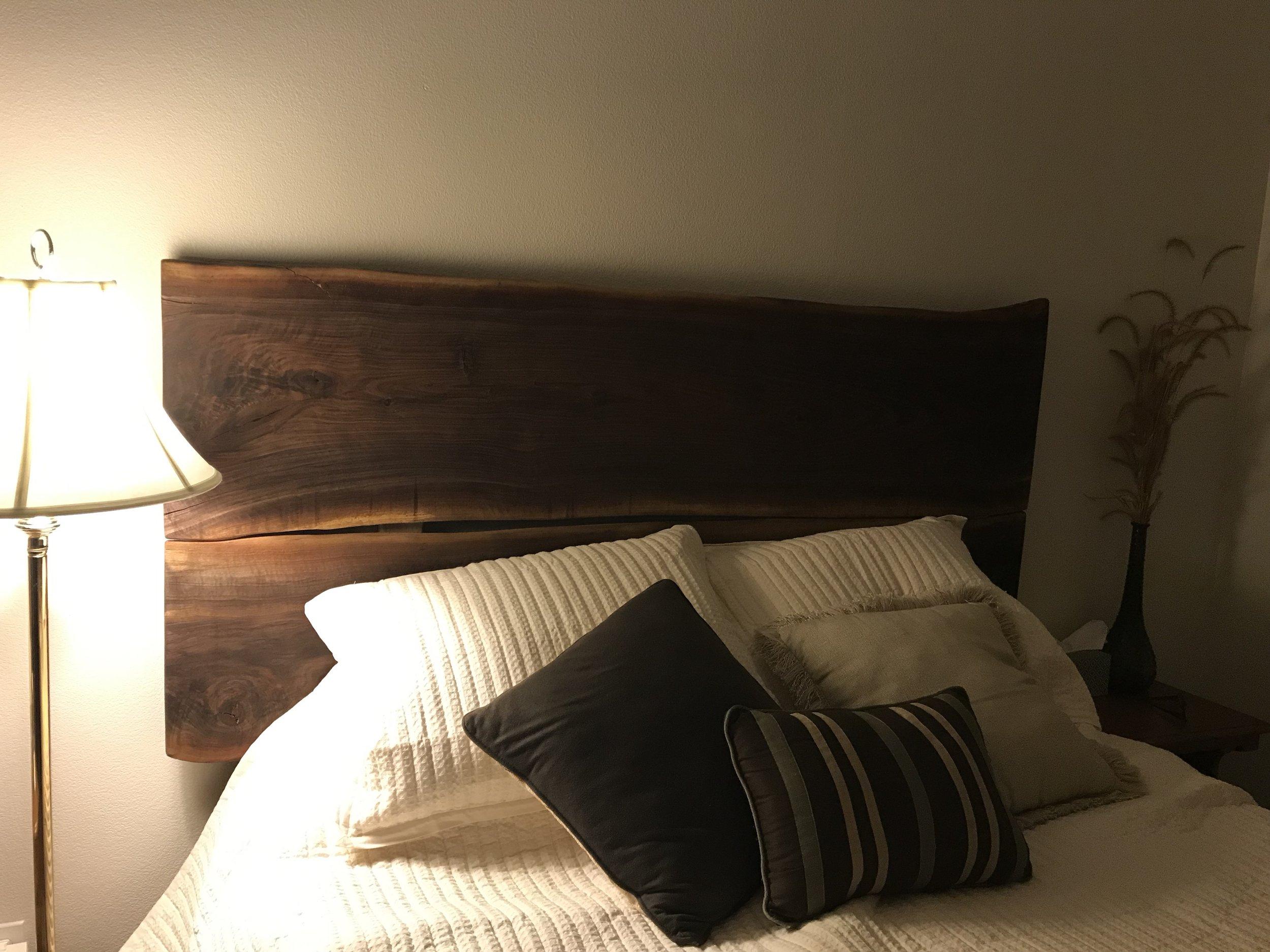 black walnut headboard, oil-rubbed finish