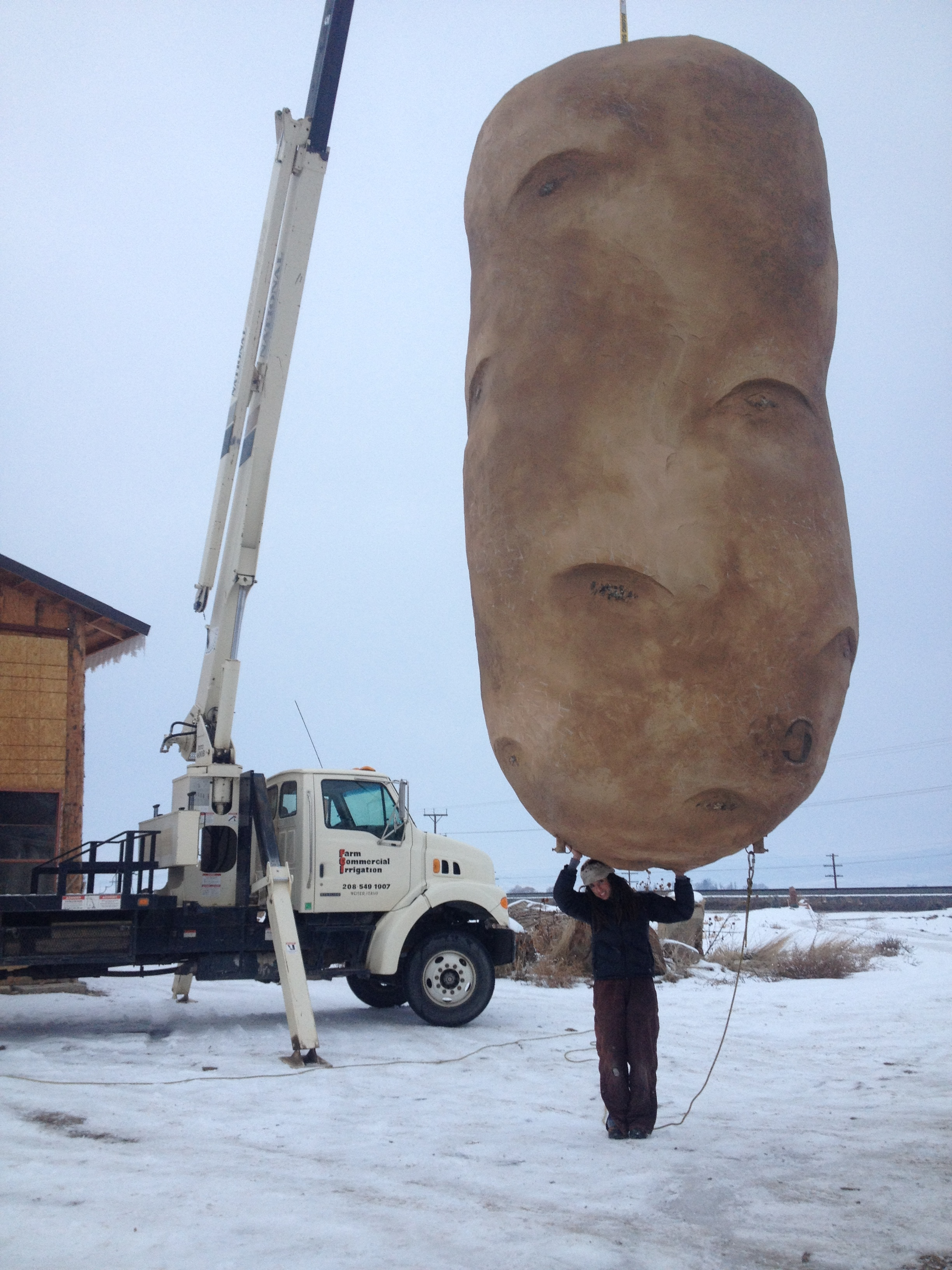 humble beginnings: the first new year's potato was built on a budget…sculpted entirely of styrofoam .