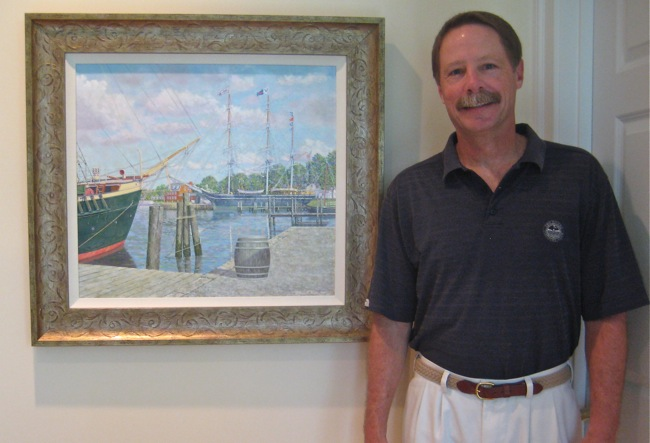 William R. Beebe alongside   Mystic Flagships