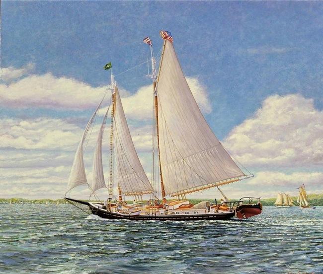 Schooner J. & E. Riggin   by William R. Beebe, NFS