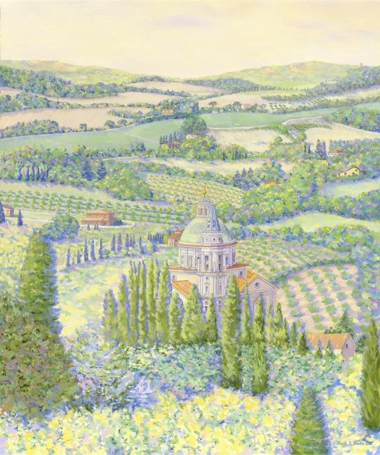 EUROPEAN LANDSCAPES Montepulciano Vista  , 36 x 30, Oil on canvas