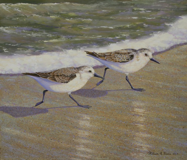 A Pair of Pipers, 12 x 14, Oil on board, by William R. Beebe
