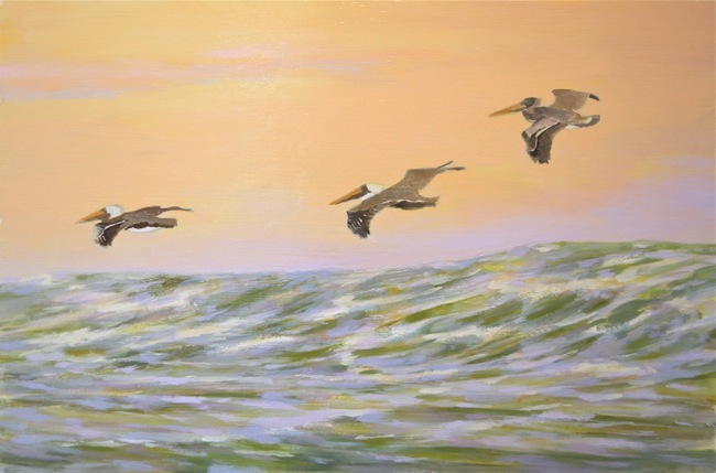 Pelicans cruising the coastline, WORK IN PROGRESS, by William R. Beebe