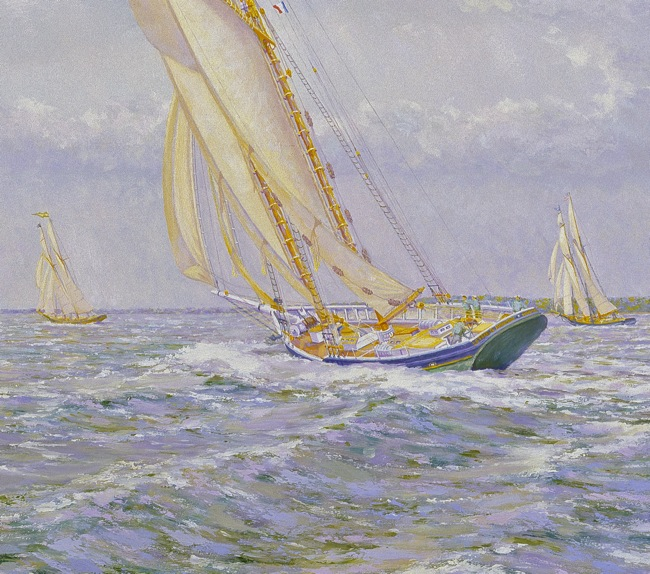 The Lettie G. Howard  (DETAIL SHOT), by William R. Beebe, 24 x 24, oil on board, AVAILABLE