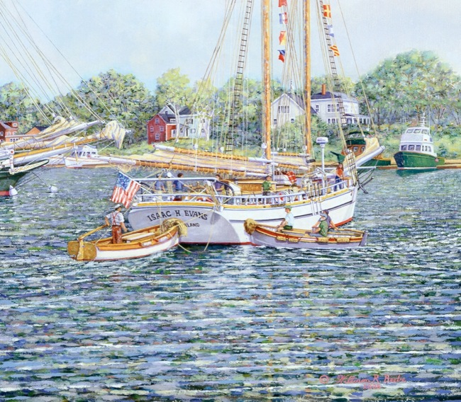 Flags Abound  (DETAIL SHOT), by William R. Beebe, 24 x 30, oil on canvas, SOLD
