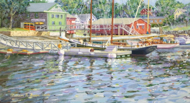 Camden's Inner Harbor  (DETAIL SHOT), by William R. Beebe, 11 x 14, oil on canvas, SOLD