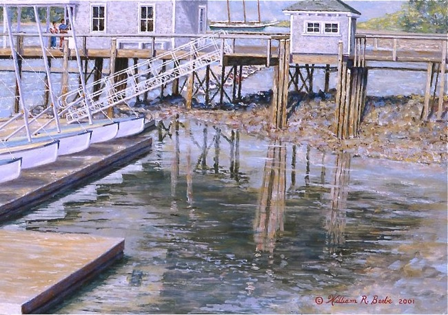 The Dog Days of Summer on North Haven  (DETAIL SHOT), by William R. Beebe, 11 x 15, oil on board, SOLD