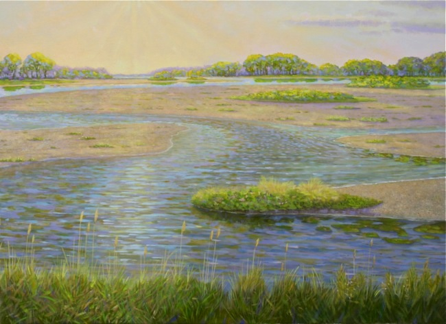 Sunrise Over the Salt Marsh  (DETAIL SHOT), by William R. Beebe, 30 x 40, oil on canvas, AVAILABLE