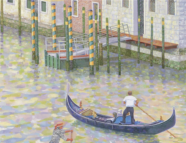 Venice by Gondola  (DETAIL SHOT), by William R. Beebe, 30 x 36, oil on canvas, AVAILABLE