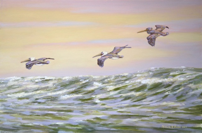 Pelicans Twilight Flight by William R. Beebe, 12 x 18, oil on board