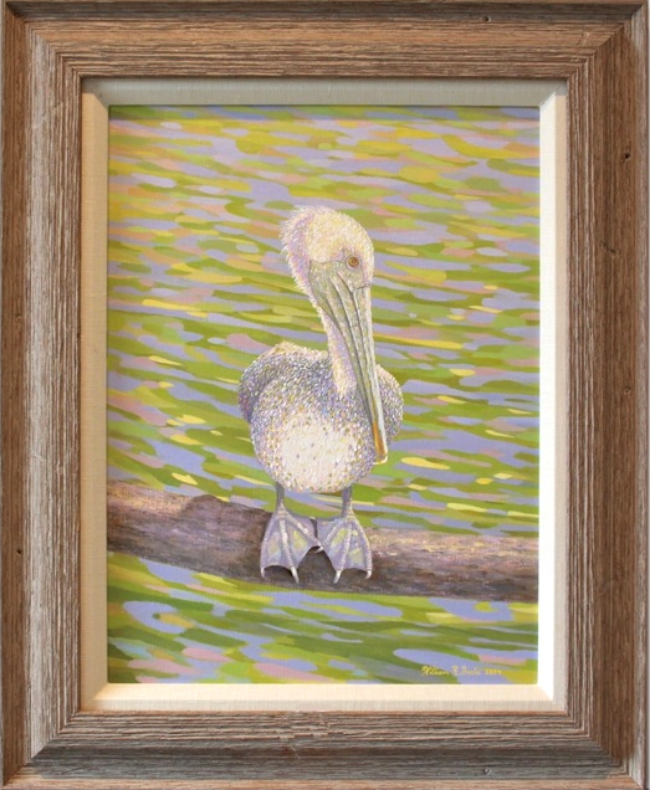 Painting of Patty the    Pelican Perfectly Perched  SOLD