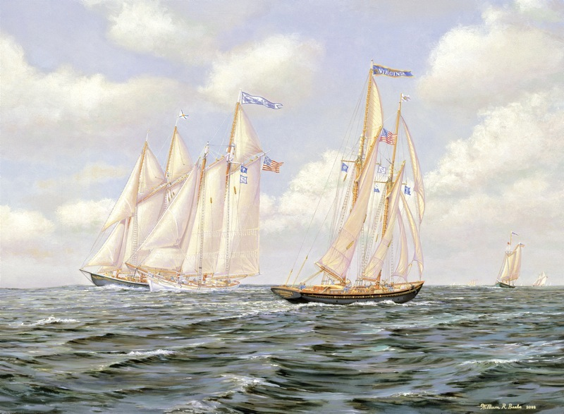 Copy of A Spirited Race by artist William R. Beebe