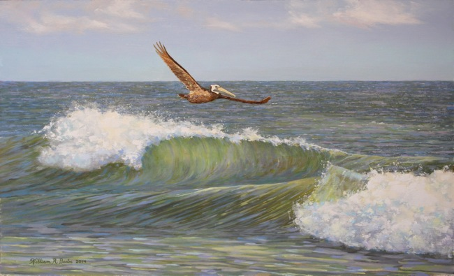 Riding the Wave  by William R. Beebe, 12 x 20, Oil on board, SOLD