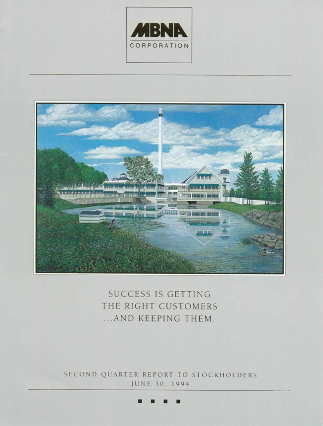 MBNA Quarterly Stockholders Report Cover, painting by William R. Beebe