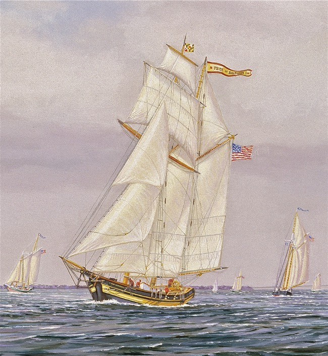 Friendly Rivals    (detail of  Pride of Baltimore II ) by William R. Beebe