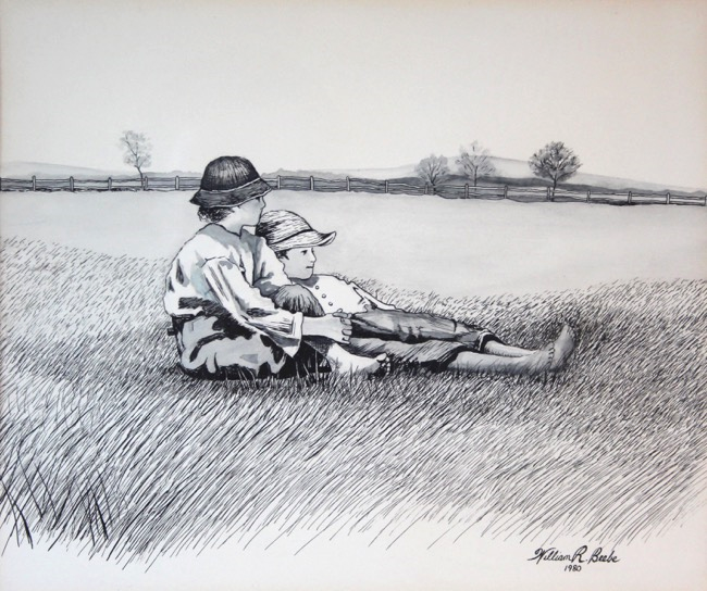 Boys in a Pasture   by William R. Beebe, pen and ink, 1980