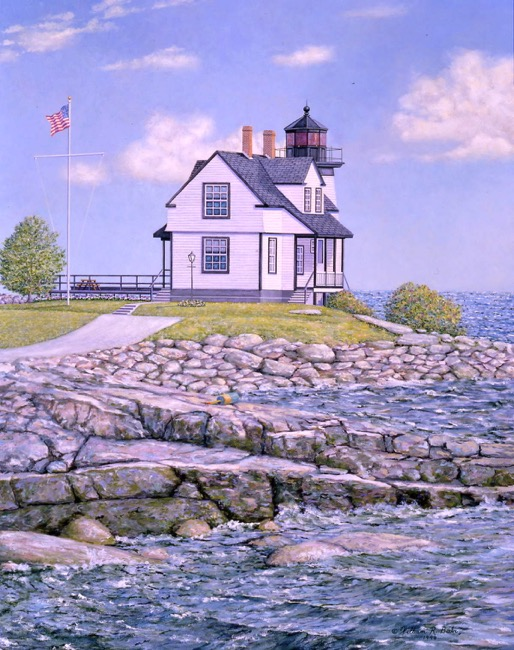 Prospect Harbor Light    by William R. Beebe, Lithographic print