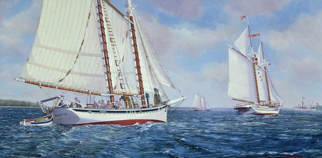 Schooners Timberwind & Heritage   by William R. Beebe, Lithographic print