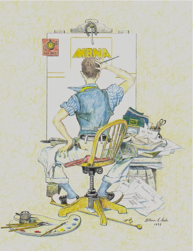 Me at work for CMC/MBNA  Drawing by William R. Beebe for Charlie Cawley