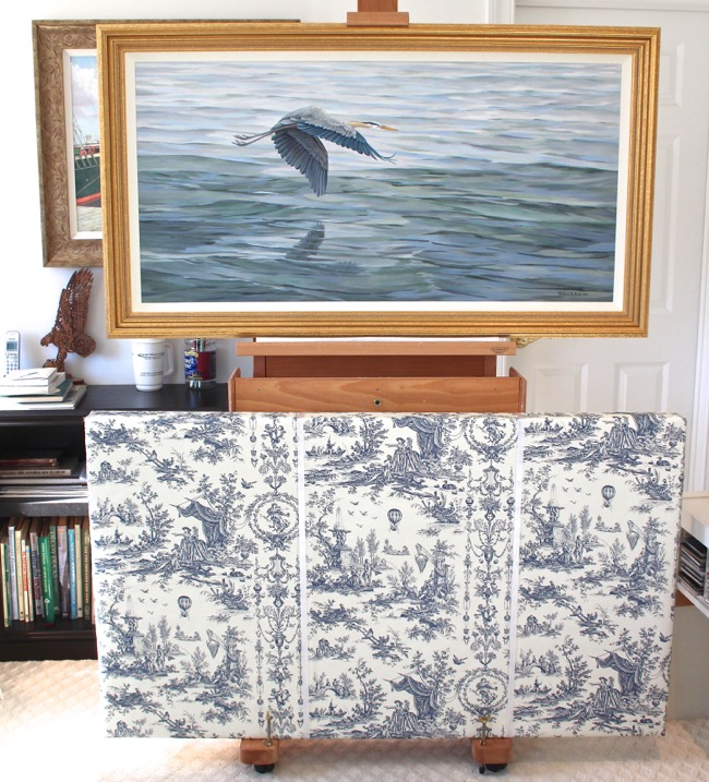 Blue Morning   painting ready to go in its rather large Toile wrapped box!