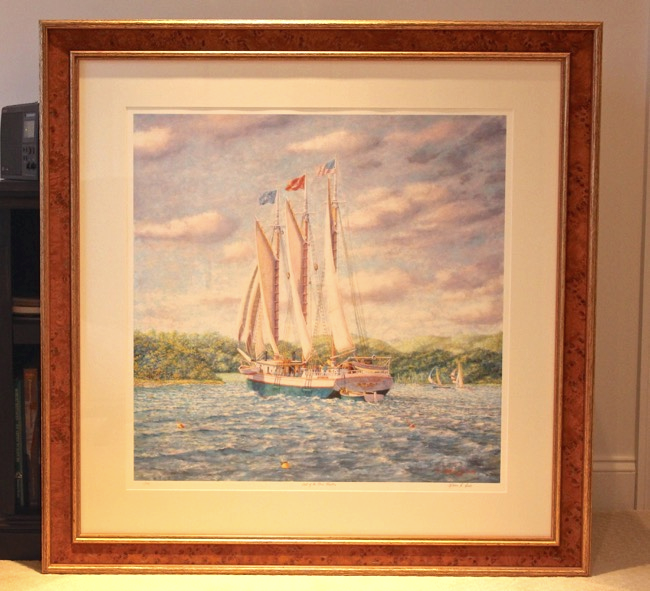 Last of the Three Masters    by William R. Beebe, framed giclee, 45 x 45, $1250