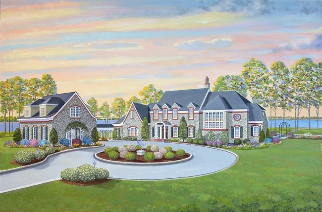 Magnant home painting-in-progress by William R. Beebe