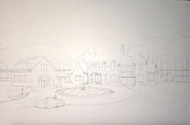 Magnant home drawing by William R. Beebe