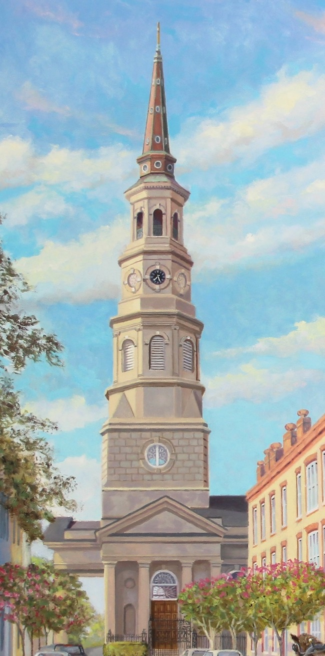 The Corner of Church and Queen  , by William R. Beebe, detail shot of St. Philip's Church,