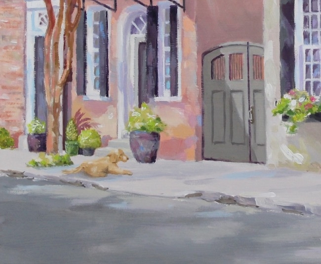 Detail shot of   Waiting Under the Crepe Myrtle   by William R. Beebe