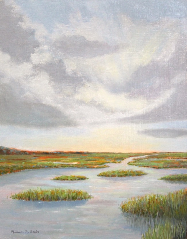 Sundown on the Marsh    by William R. Beebe, 14 x 11, Oil on board, SOLD