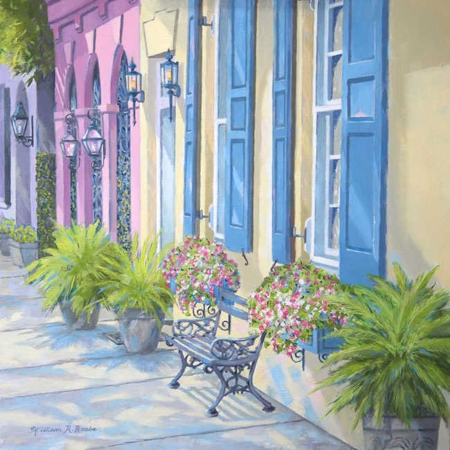 Charming Rainbow Row    by William R. Beebe, 12 x 12, Oil on board, $2200
