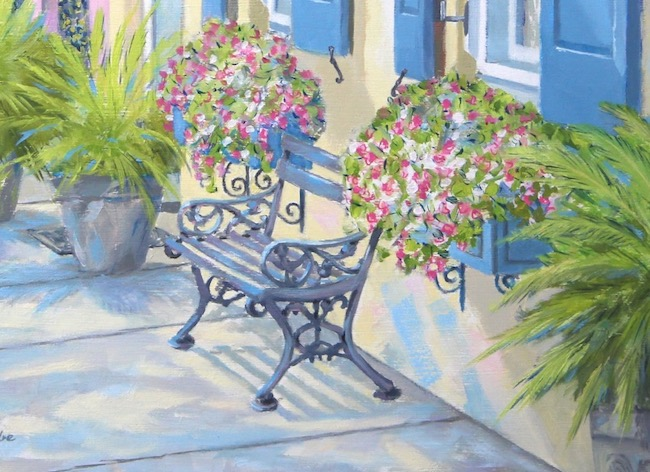 Charming Rainbow Row   bench detail by William R. Beebe