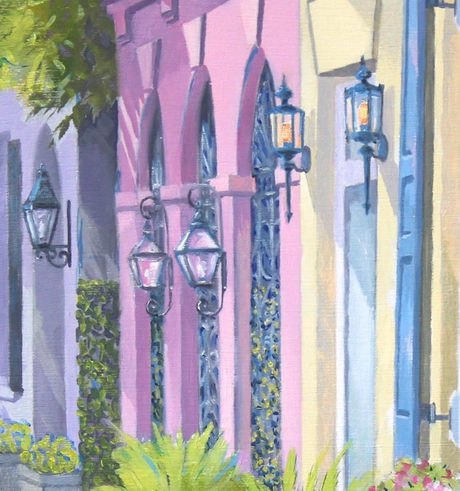 Charming Rainbow Row   lantern and arch details by William R. Beebe