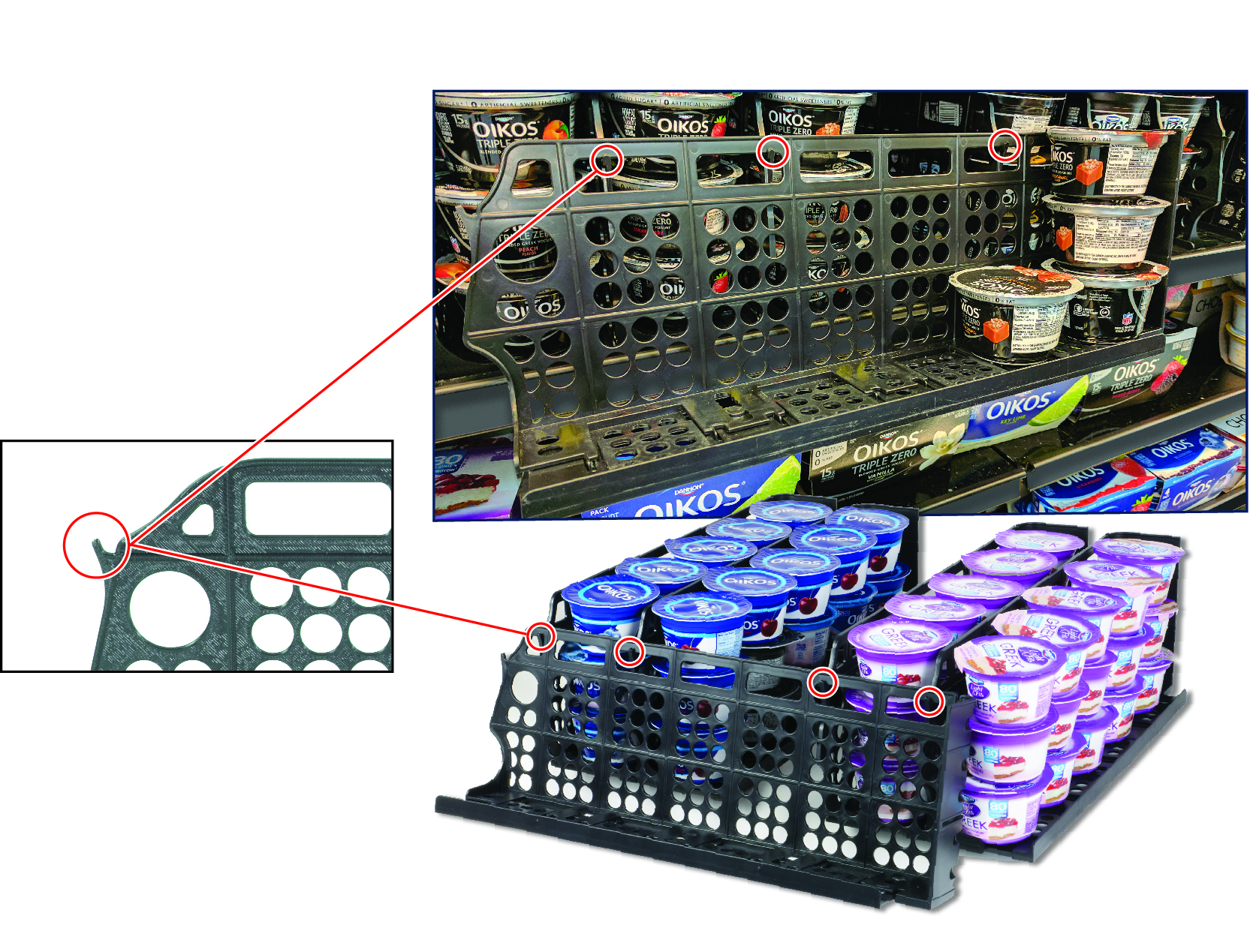 Integrated Quick-Load Hook System –  allows tray to hang for easy stocking and rotation