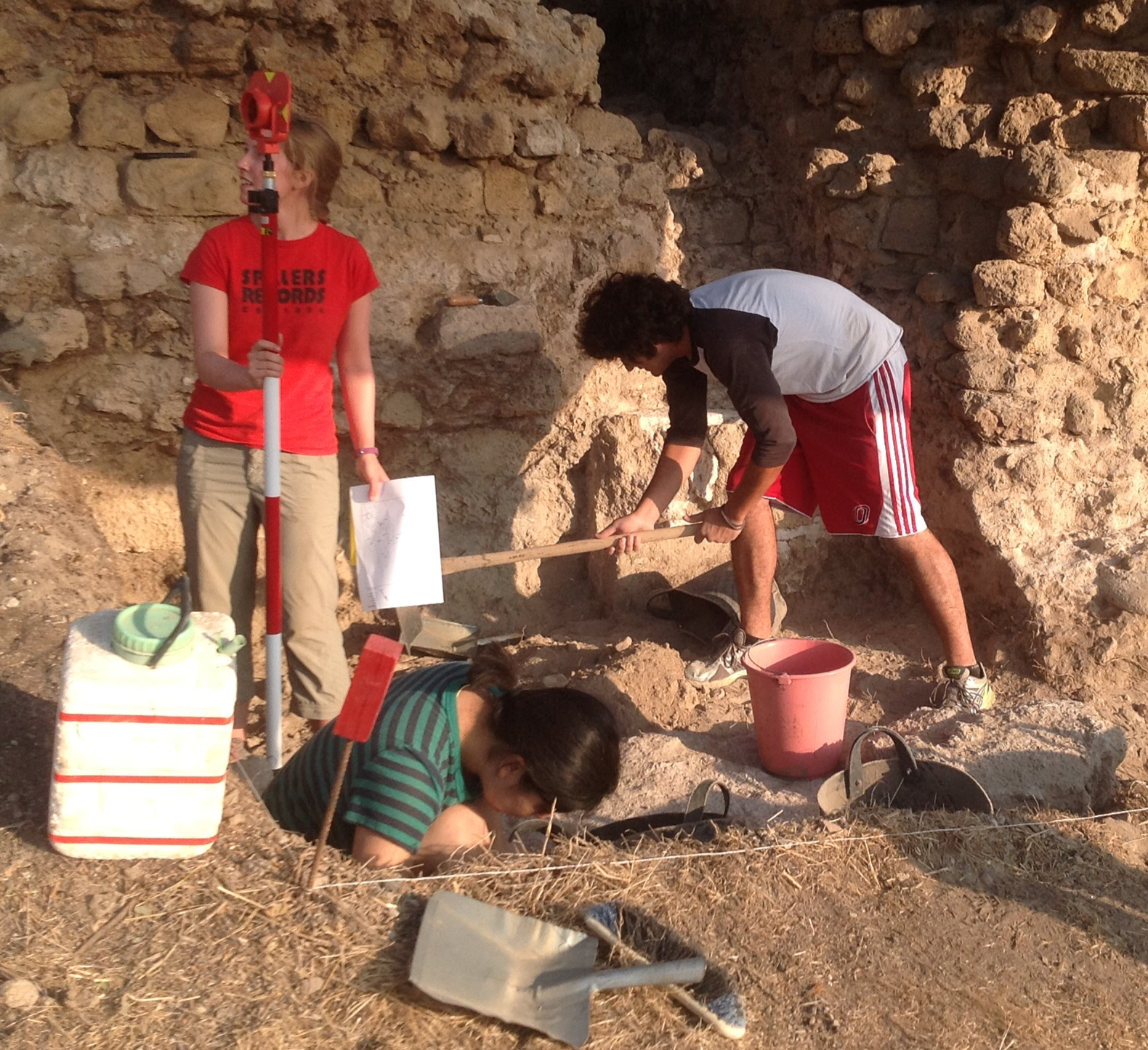 Excavating at the base of the Snake Tower