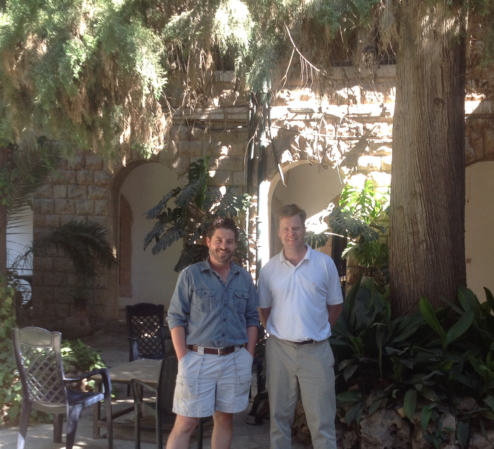 Daniel Master and Matt Adams in the Albright courtyard