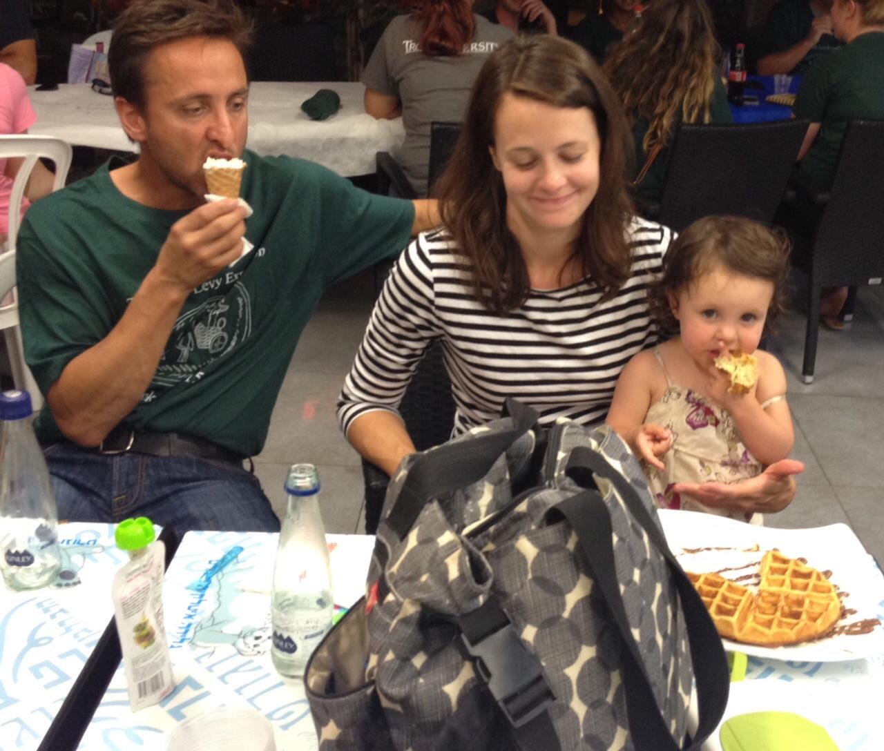 The Aja family enjoys ice cream AND a waffle