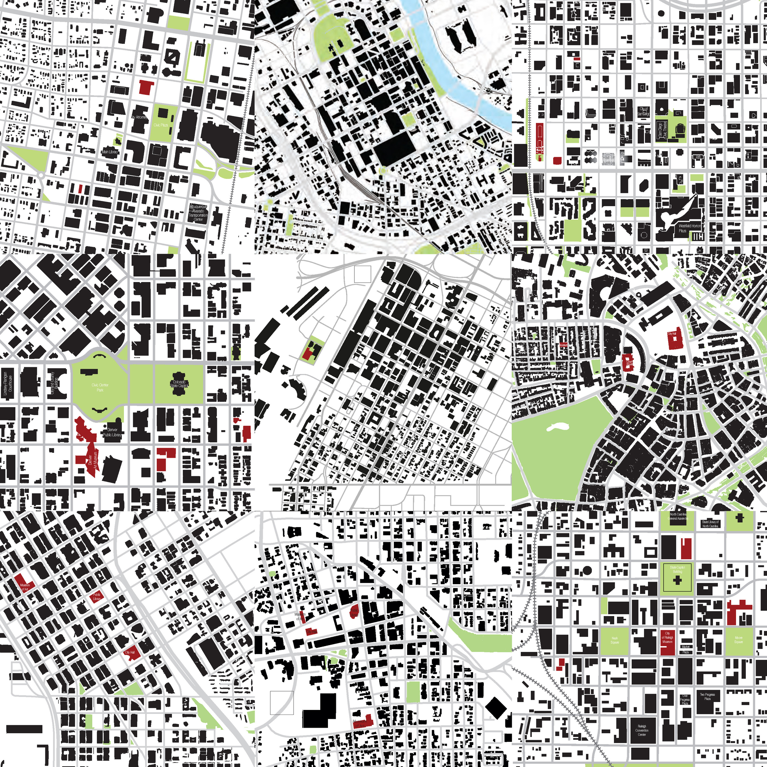 City figure-grounds, aspirational and comparative cities including Raleigh, Denver, Boston, Tuscon, Nashville, San Diego, Albuquerque.  Las Vegas in the center.  Note the relative lack of park and cultural spaces, especially in close proximity to City Hall.